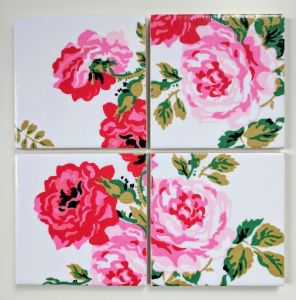 4 Ceramic Coasters in Cath Kidston Antique Rose White
